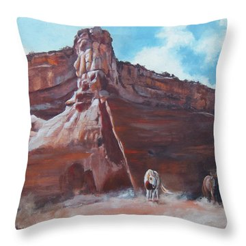 Throw Pillow featuring the painting Wind Horse Canyon by Karen Kennedy Chatham