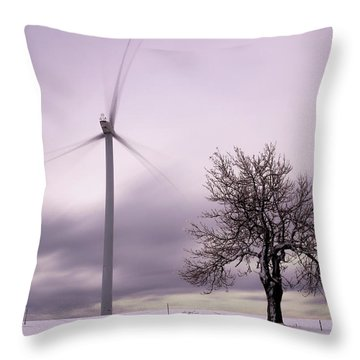 Wind Power Station, Ore Mountains, Czech Republic Throw Pillow