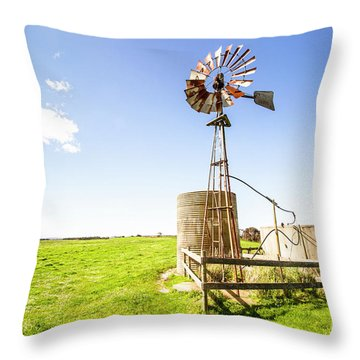 Wind Powered Farming Station Throw Pillow