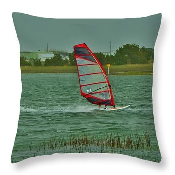 Wind Surfing 2 Throw Pillow by Bob Sample