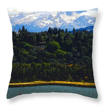 Wind Surfing Mt. Hood Throw Pillow by David Lee Thompson