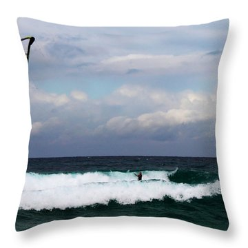 Wind Surfing Surfer's Paradise Throw Pillow by Susan Vineyard