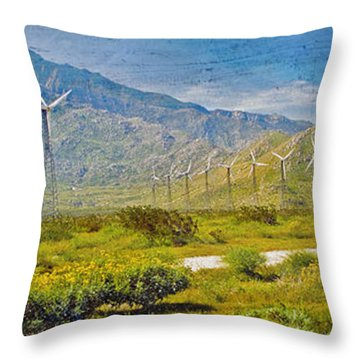 Throw Pillow featuring the photograph Wind Turbine Farm Palm Springs Ca by David Zanzinger