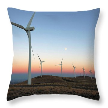 Wind Turbines At Moonrise Throw Pillow