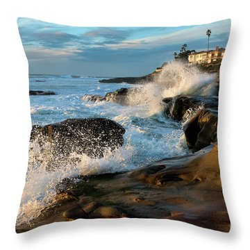 Throw Pillow featuring the photograph Windansea Beach At High Tide by Eddie Yerkish