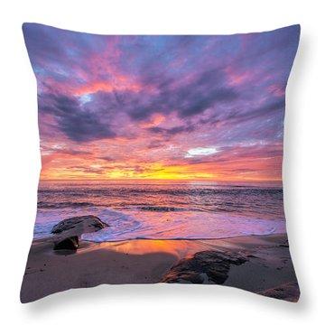 Windansea Beach Sunset Throw Pillow