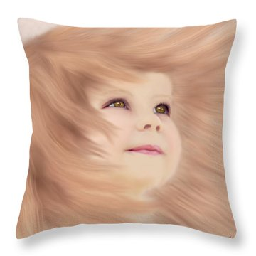 Windblown Child's Play Throw Pillow