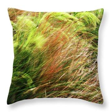 Windblown Grasses Throw Pillow