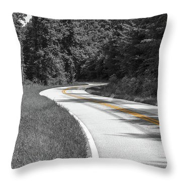 Winding Country Road In Selective Color Throw Pillow
