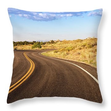 Winding Desert Road At Sunset Throw Pillow
