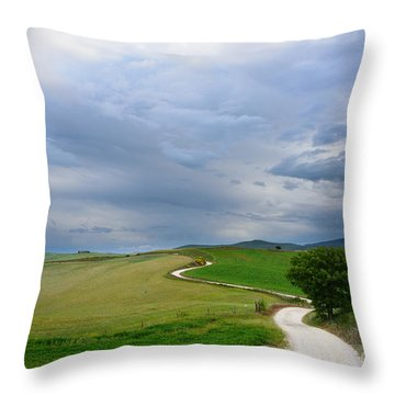 Winding Road To A Destination In A Tuscany Landscape Throw Pillow