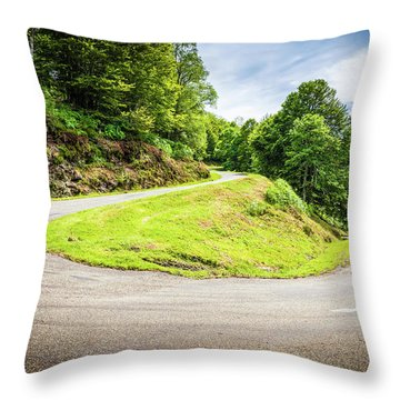 Throw Pillow featuring the photograph Winding Road With Sharp Curve Going Up The Mountain by Semmick Photo