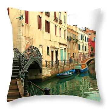 Winding Through The Watery Streets Of Venice Throw Pillow