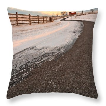 Winding Winter Road Throw Pillow