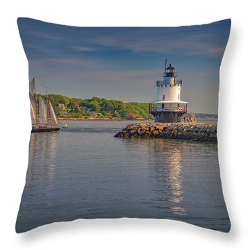 Windjammer At Spring Point Ledge Lighthouse Throw Pillow