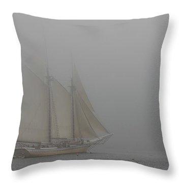 Windjammer In Fog Throw Pillow