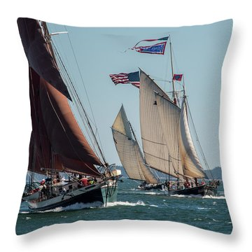 Windjammer Race 2 Throw Pillow by Fred LeBlanc