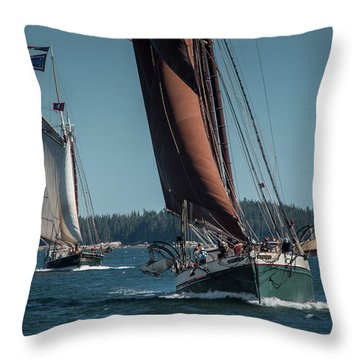 Windjammer Race Throw Pillow by Fred LeBlanc