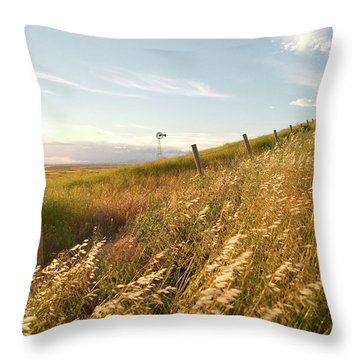 Windmill And The Fence Sundown Throw Pillow