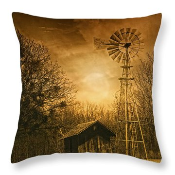 Windmill At Sunset Throw Pillow by Iris Greenwell