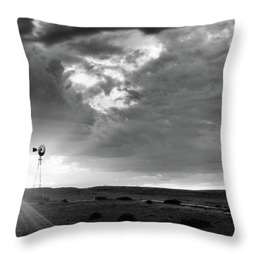 Windmill At Sunset Throw Pillow by Monte Stevens