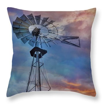 Throw Pillow featuring the photograph Windmill At Sunset by Susan Candelario