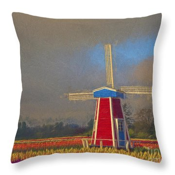 Windmill Throw Pillow by Billie-Jo Miller