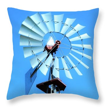 Throw Pillow featuring the photograph Windmill - Bright Sunny Day by Ray Shrewsberry