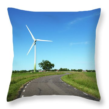 Throw Pillow featuring the photograph Windmill By A Country Road Side by Kennerth and Birgitta Kullman