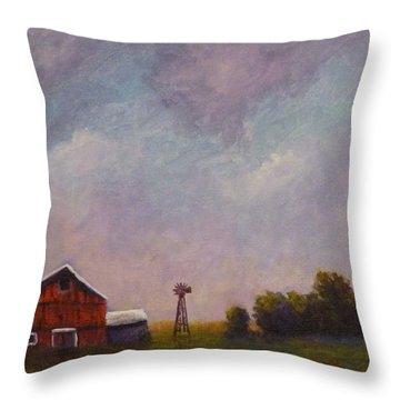 Windmill Farm Under A Stormy Sky. Throw Pillow