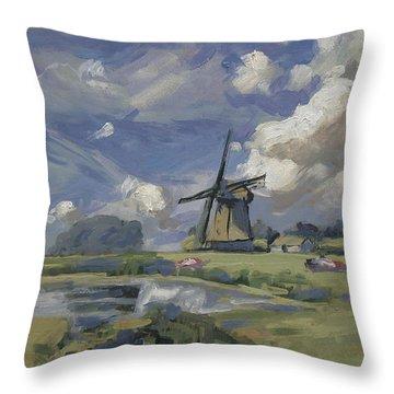 Windmill In Dutch Polder Throw Pillow