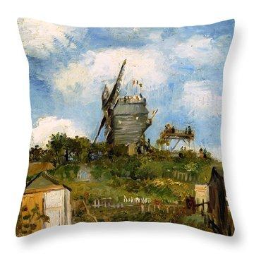 Windmill In Farm Throw Pillow