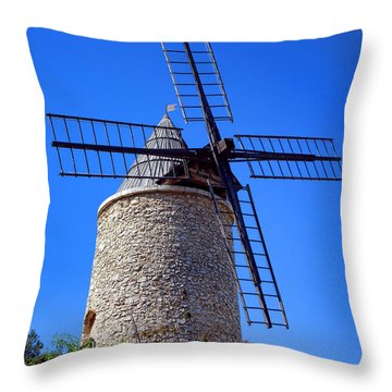 Throw Pillow featuring the photograph Windmill In Provence by Olivier Le Queinec