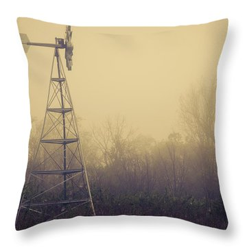 Windmill In The Foggy Dawn Throw Pillow