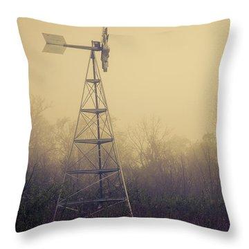 Windmill In The Foggy Dawn Throw Pillow