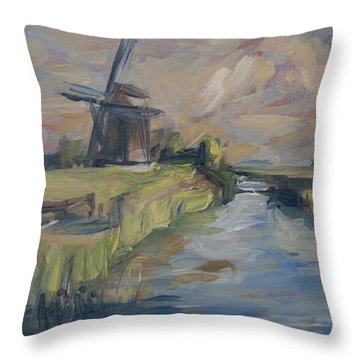 Windmill In The Polder Throw Pillow