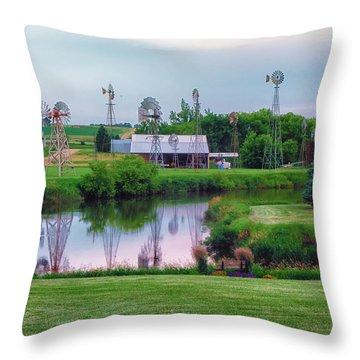 Windmill Landscape Throw Pillow