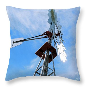 Throw Pillow featuring the photograph Windmill - Mildly Cloudy Day by Ray Shrewsberry
