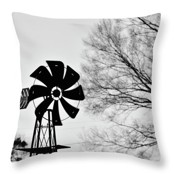 Windmill On The Farm Throw Pillow