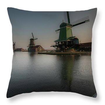 Windmill Sunrise Throw Pillow