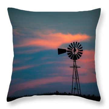 Windmill Sunset Throw Pillow