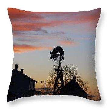 Windmill Sunset Throw Pillow