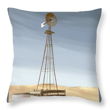 Throw Pillow featuring the painting Windmill by Terry Frederick