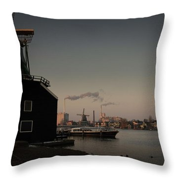 Windmill Town Throw Pillow