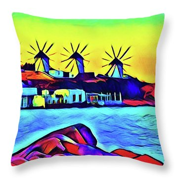 Windmills At Mykonos Throw Pillow