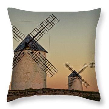 Throw Pillow featuring the photograph Windmills In Golden Light by Heiko Koehrer-Wagner