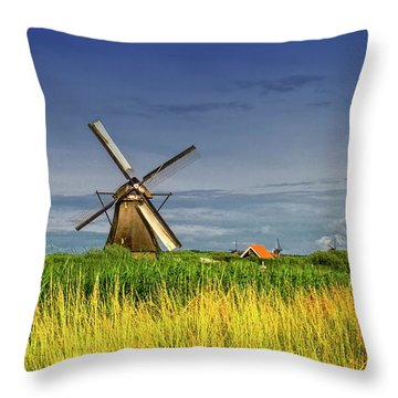 Windmills In Kinderdijk, Holland, Netherlands Throw Pillow by Elenarts - Elena Duvernay photo