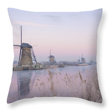Windmills In The Netherlands In The Soft Sunrise Light In Winter Throw Pillow