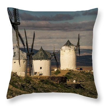 Throw Pillow featuring the photograph Windmills Of La Mancha by Heiko Koehrer-Wagner
