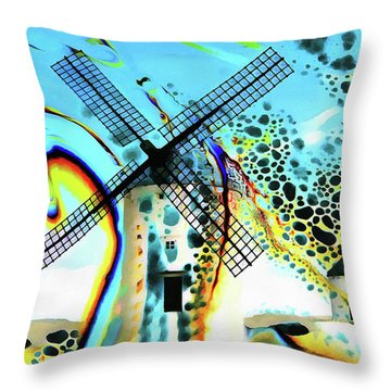 Throw Pillow featuring the painting Windmills Of  La Mancha by Valerie Anne Kelly